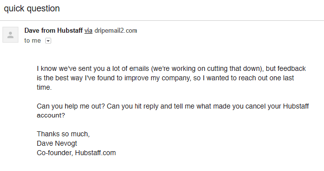 Hubstaff Feedback Email