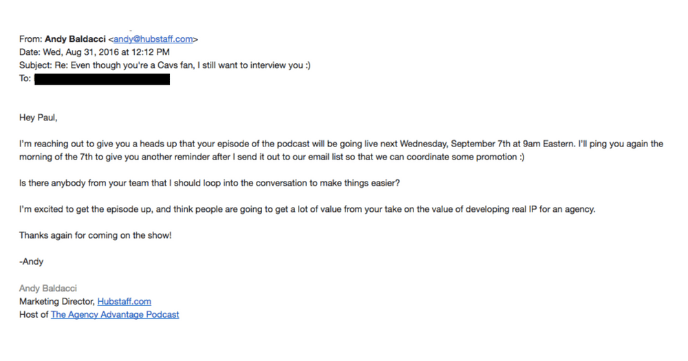 Screenshot of podcast promotion email