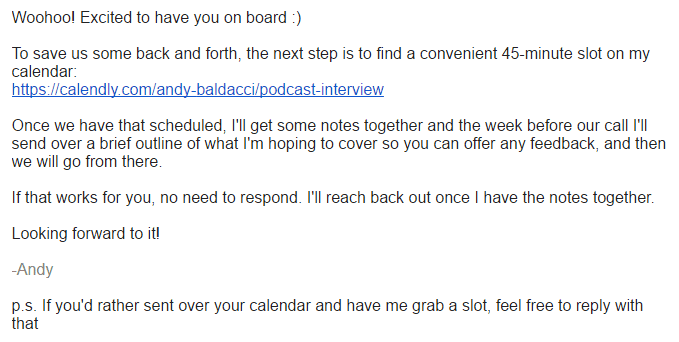 Screenshot of email for scheduling an interview with a podcast guest